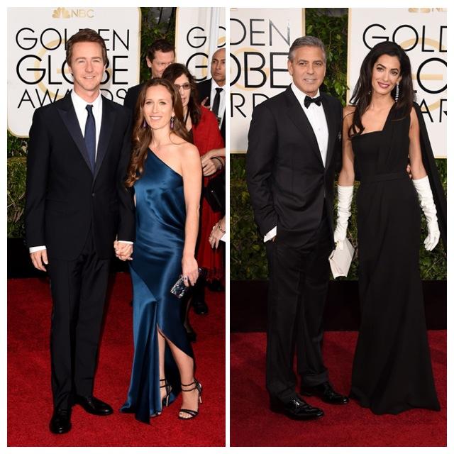 Elegantísimos Edward Norton y George Clooney con sus esposas.