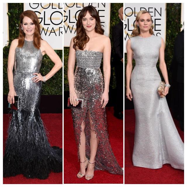 Hablando en plata: Julianne Moore de Givenchy, Dakota Johnson y Diane Kruger de Emilia Wickstead.